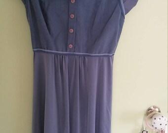 70s vintage gray blue cowel neck suede dress