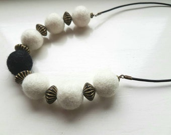 White Felted Necklace