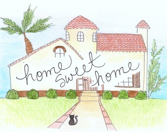 Custom House Painting // Home quote // Home with names // Personalized home painting // Cute house with message // Hand painted Watercolor
