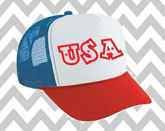 USA Trucker Hat 'Merica Trucker Hat Fourth Of July Hat Snapback Hat 4th of July Hat Independence Day USA Hat Snap Back Hat Lake Hat Merica