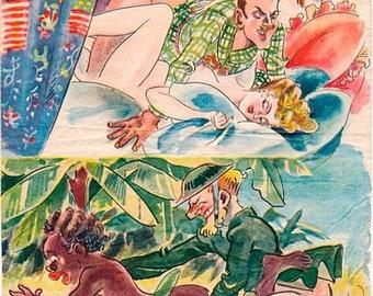 Vintage World war 2 Japanese anti Allied Propoganda Poster A3 Print