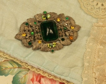 Vintage Czech glass brooch