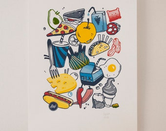 Screen printed FOOD 29.7 x 42 A3 fine art print limited and numbered