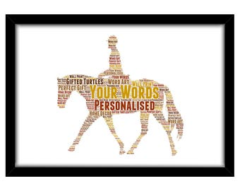 PERSONALISED Horse & Rider Word Art Print Gift Idea Birthday Equestrian Pony Jumping Dressage Show Winner For Him Her Mum Dad Sister PG0584
