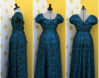 1940's teal blue brocade gown with bows