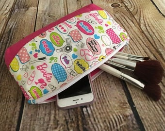 Barbie Zippered Clutch, Cosmetic Pouch, Large Cosmetic Pouch, Makeup Pouch.