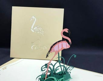 Flamingo 3-d pop up card