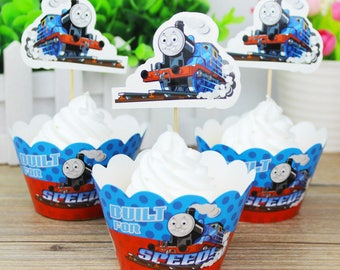 24 Pcs/Set Thomas The Train Cupcake Wrappers and Toppers /Cake Decorations