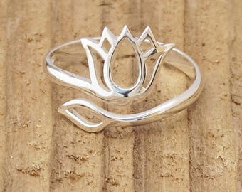 Sterling Silver Lotus Blossom Flower Openwork Ring Yoga Mantra Namaste