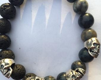 Mens skull bracelet Silver 925/1000