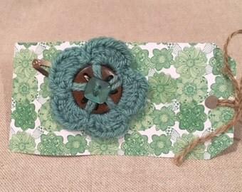 Green Crochet Flower Hair Slide