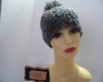 Tuque with pompon (teal, Brown, Beige) #301