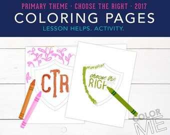 Choose the Right, Coloring Page, Color Me, CTR Shield, Printables