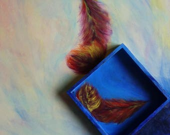 Table of feathers - abstract background - original painting - modern and zen