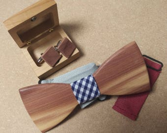 Kit bow tie and cufflinks in juniper wood