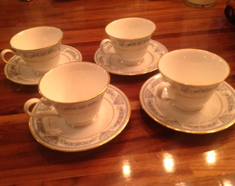 Oxford Fontaine Pattern Cup and Saucers Set of Four