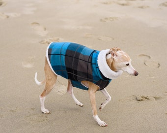 LARGE Blue Black Plaid Fleece Dog Sweater. Dog Clothing. Italian Greyhound Clothing. Small dog apparel. Dog coat. Iggy wear