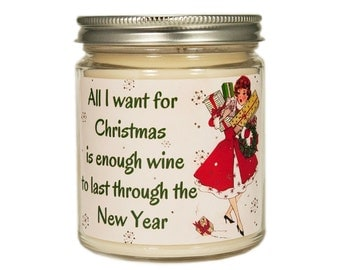 Wine Lover Gift, Christmas Candle, Personalized Candle, Holiday Candle, Candle Gift, Soy Candle, Wine Candle, Wine Lover Gift