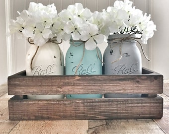 Mason jar centerpiece, mason jar decor, rustic home decor, farmhouse decor, mason jar planter box