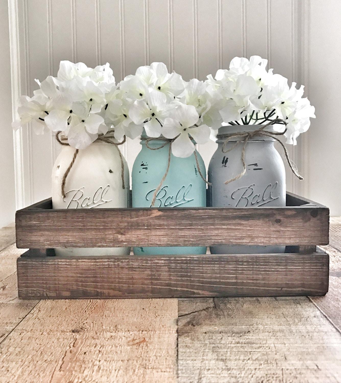 mason jar centerpiece mason jar decor rustic home decor. Black Bedroom Furniture Sets. Home Design Ideas