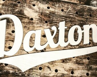 Custom Wooden Name Varsity Font, Baseball Themed Kids Room Sign