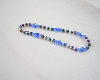Handmade blue glass beaded bracelet