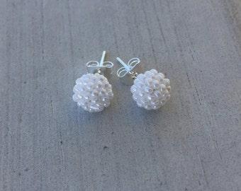 Pearl White Stud Earrings; Seed Beaded Earrings; Silver-Plated Studs; Wedding Stud Earrings; 6-8mm Round Stud Earrings; Women/Teens/Girls