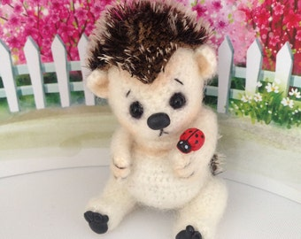 Stuffed Animal Knit bear Crochet Toy Teddy Hedgehog