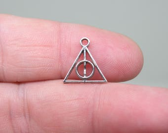 10 Silver Tone Deathly Hallows symbol from Harry Potter Charms. B-013