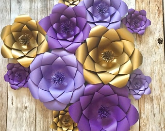 Purple and gold Paper flowers, wedding backdrop, baby room, bridal shower, baby shower, photobooth, custom, 3D flowers