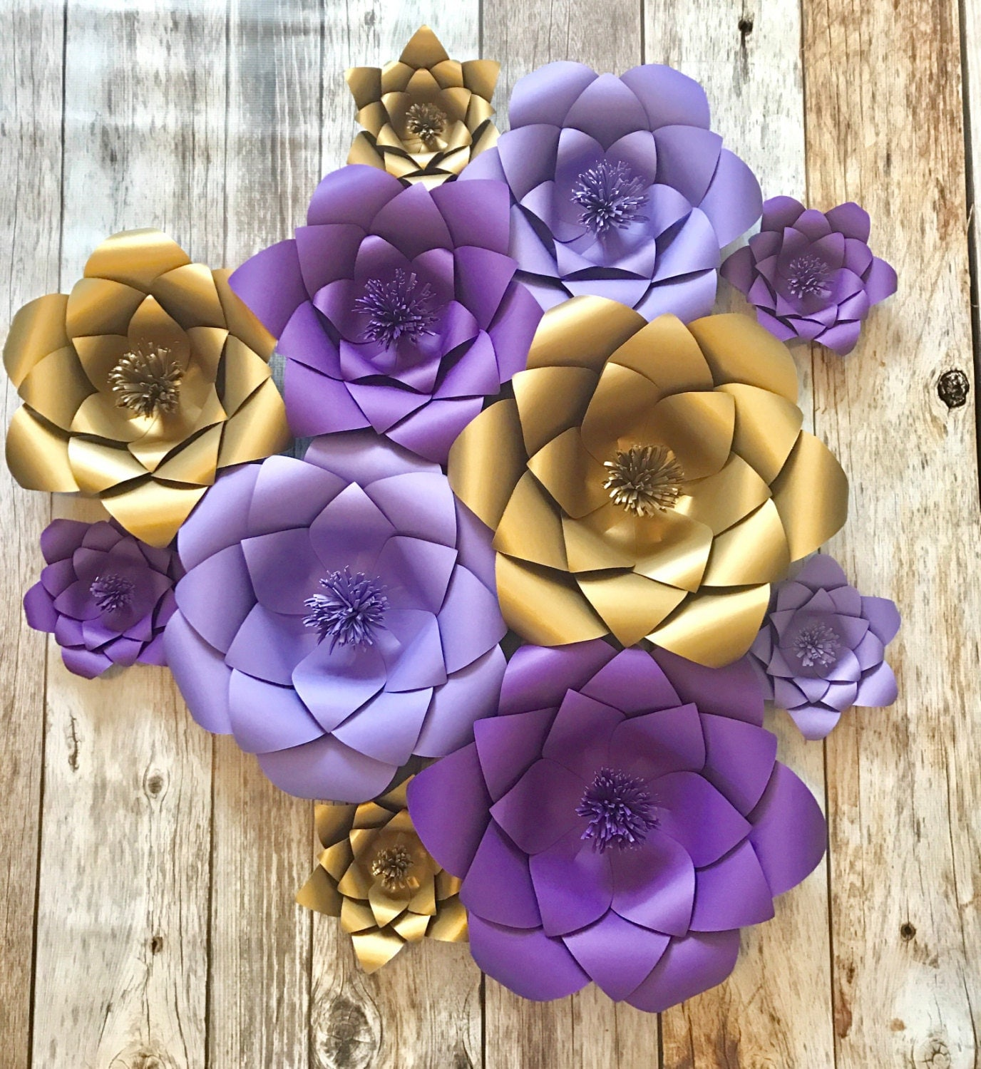 Purple and gold Paper flowers wedding backdrop baby room