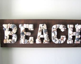 Beach Sign, Beach Wall Art, Beach Decor, Beach Art, Coastal Sign, Coastal Art, Seashell Art, Seashell Decor, Nautical Decor