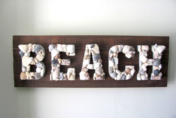 Beach Sign, Beach Wall Art, Beach Decor, Beach Art, Coastal Sign, Coastal Art, Seashell Art, Seashell Decor, Nautical Decor