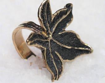 Sweetgum leaf ring, silver gilt and polished.