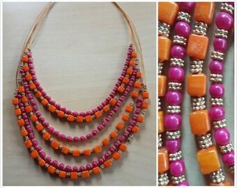 Fuscia orange and golden glass multi strand beaded necklace