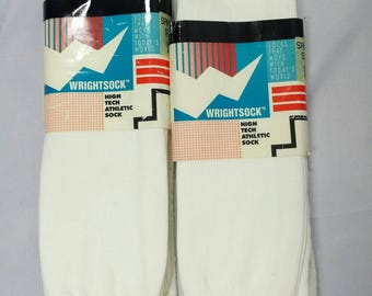 Vintage Wrightsock White Sanitary Tube Socks Long New Deadstock High Tech Athletic Socks Size 10-13
