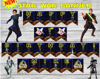 Star Wars Banner, star wars party, star wars, star wars birthday, darth vader, birthday banner,  star wars bunting, star wars decor, banner