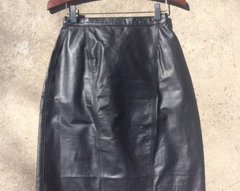 Late 1980's Winlit High Waist Leather Pencil Skirt