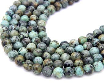 African Turquoise Beads 6mm 8mm 10mm Natural Turquoise Beads Blue Green Gemstone Beads Mala Beads Men Women Bracelet Necklace Vintage Beads