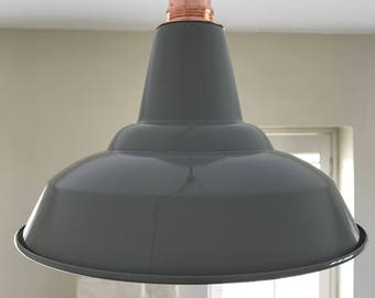 Copper & Gloss Grey Pendant Light and Shade