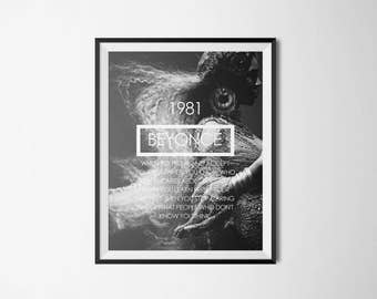 Beyoncé Born Date Quote Typography Art Print Digital Poster