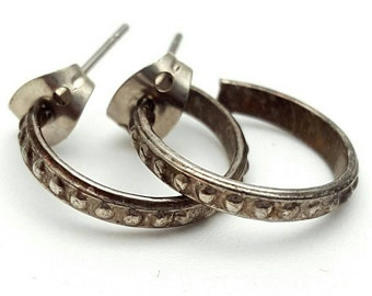 Miniature Hoop Earrings Vintage from the 90s Dark Silver tone Metal Intricate Dots Small Tiny Mini Gift for girl