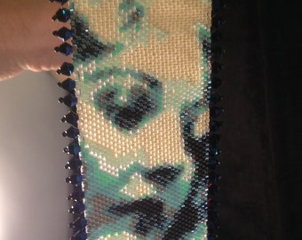 "Handmade peyote bracelet beaded cuff bracelet ""Thelma"""