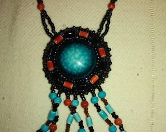 Vintage blue & coral pendant