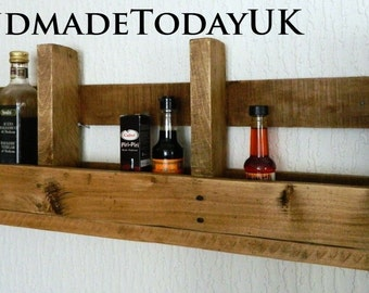 Handmade Rustic Industrial Shelf Kitchen Rack Organiser Recycled Wood