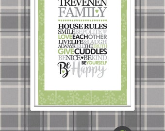 Family House Rules Personalised A4 Framed Print