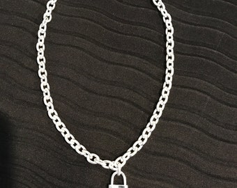 """Designer Inspired Necklace 18"""" with working lock .925"""