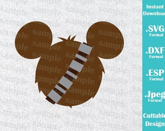 INSTANT DOWNLOAD SVG Star Wars Disney Inspired Chewbacca Mickey Ears for Cutting Machines Svg, Esp, Dxf and Jpeg Format Cricut Silhouette