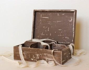 brown aged tea box wood