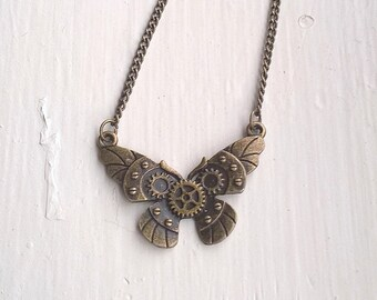 Steampunk butterfly necklace, antiqued brass adjustable necklace post apocalypse jewelry cosplay gift for her under 20 30